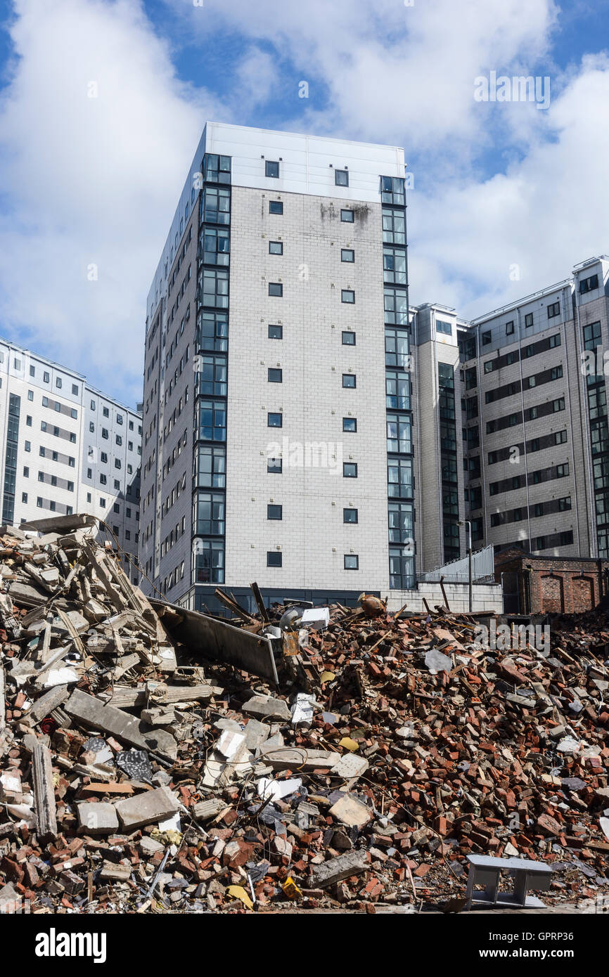 UNITE Unions student accommodation buildings contrasted against the rubble of demolished buildings on Lime Street, - Stock Image