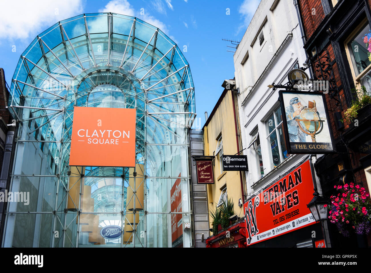 Clayton Square shopping arcade in Liverpool city centre. - Stock Image