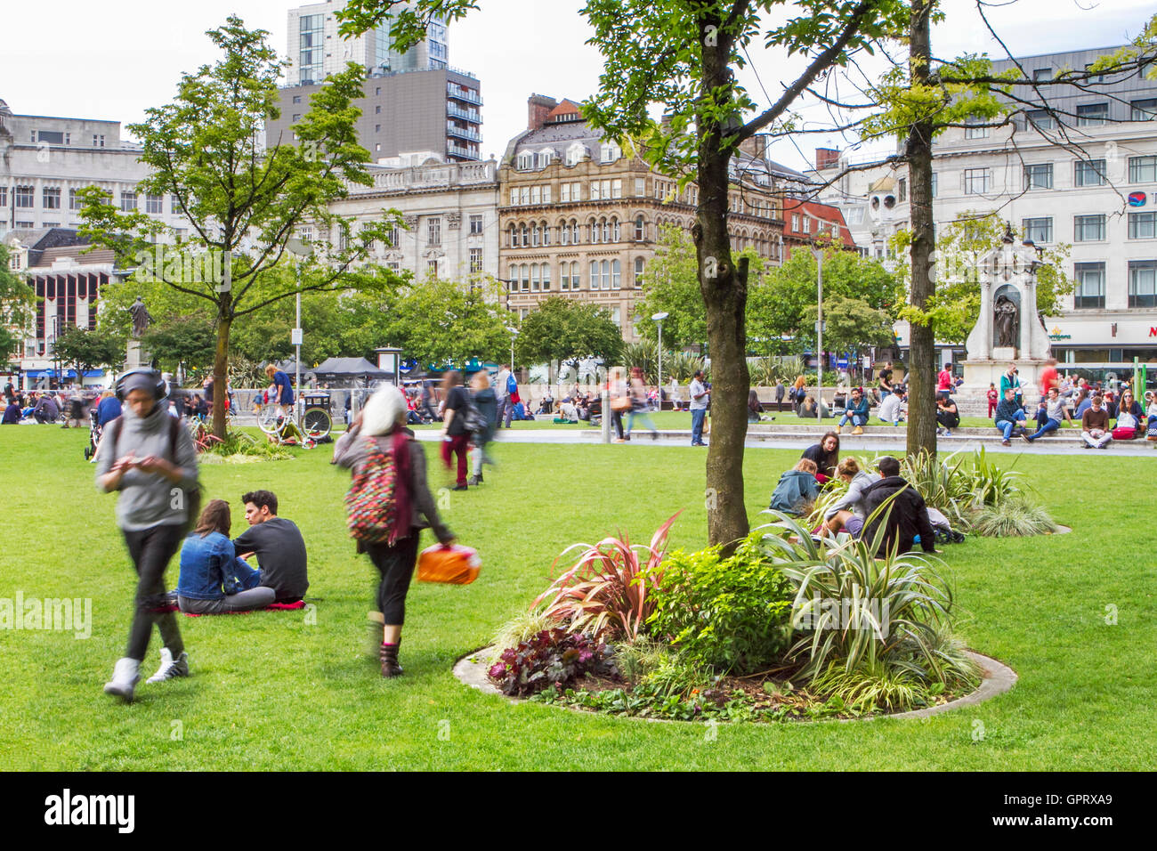 Piccadilly Gardens, a great public space in Manchester, UK - Stock Image