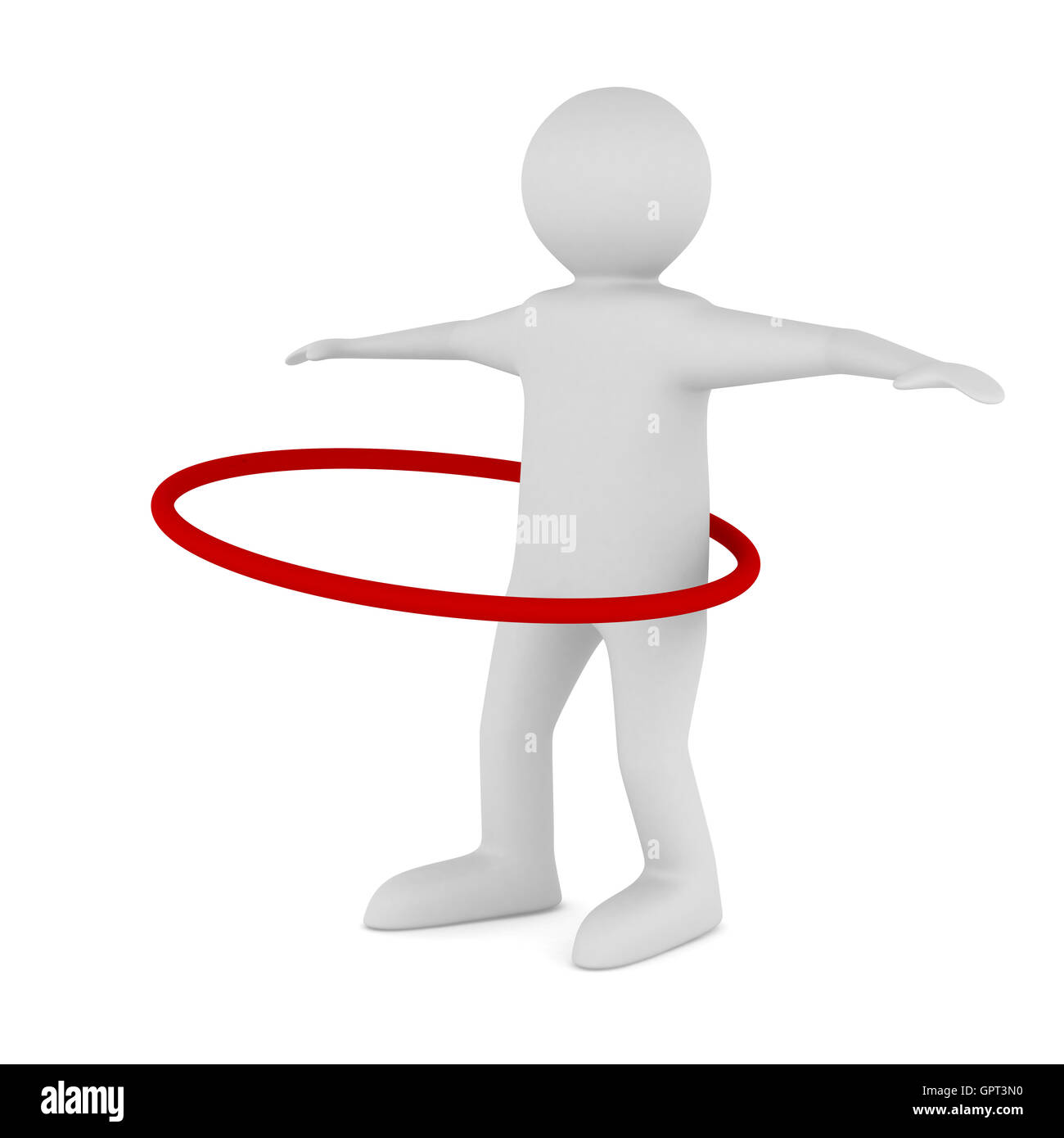 man and hula hoop on white background. Isolated 3D image - Stock Image