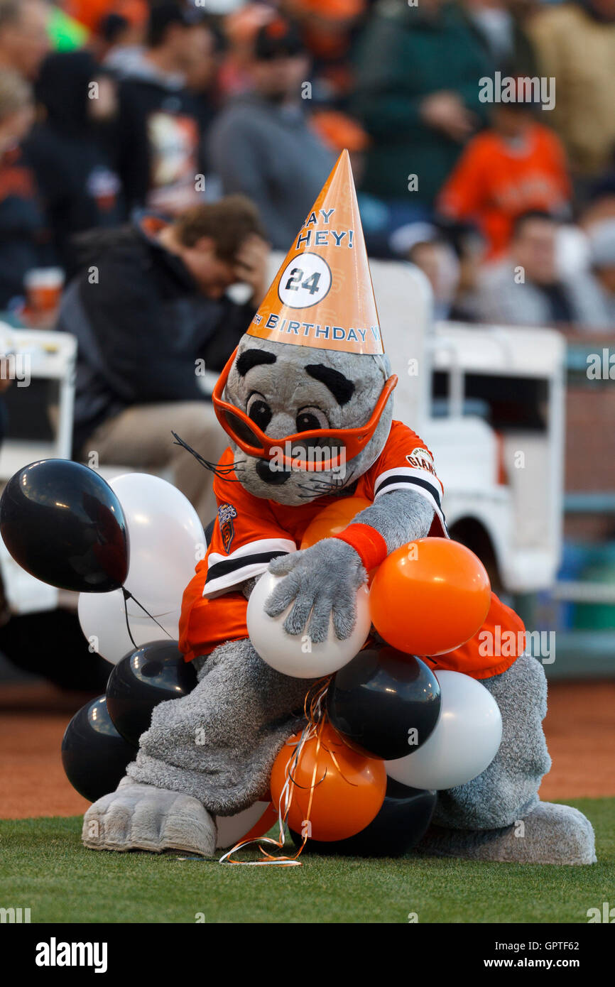 May 6 2011 San Francisco CA USA The Giants Mascot Holds Balloons As Part Of 80th Birthday Celebration For WIllie Mays Not Pictured