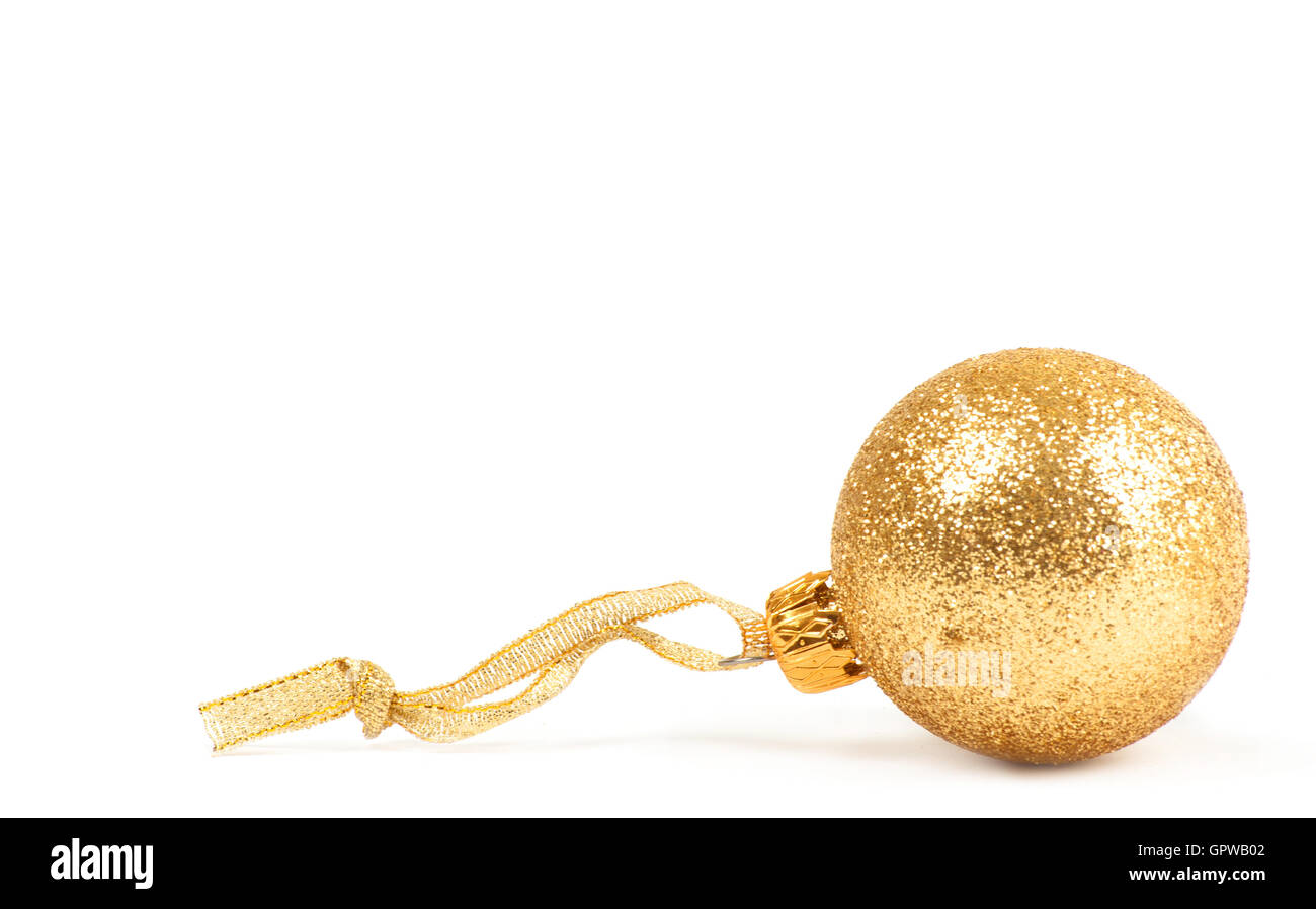 golden dull christmas ball - Stock Image