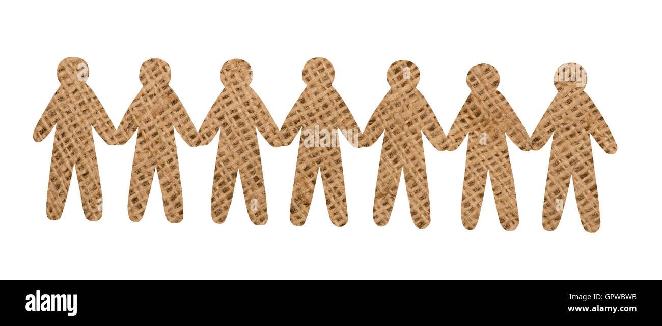team of burlap people on white background - Stock Image