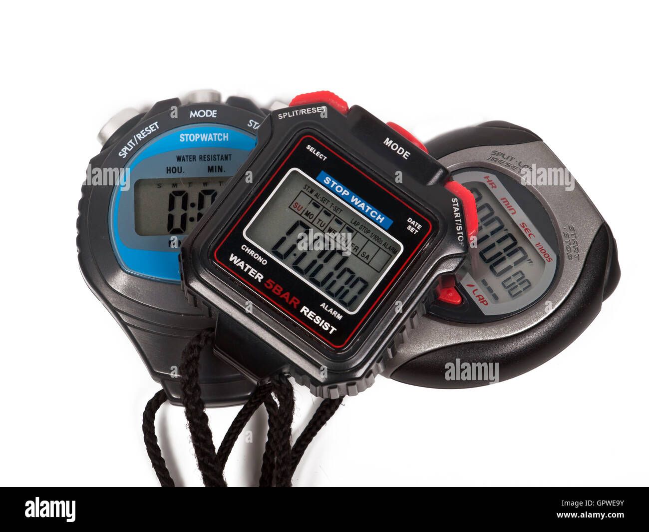 Three digital stop watches - Stock Image