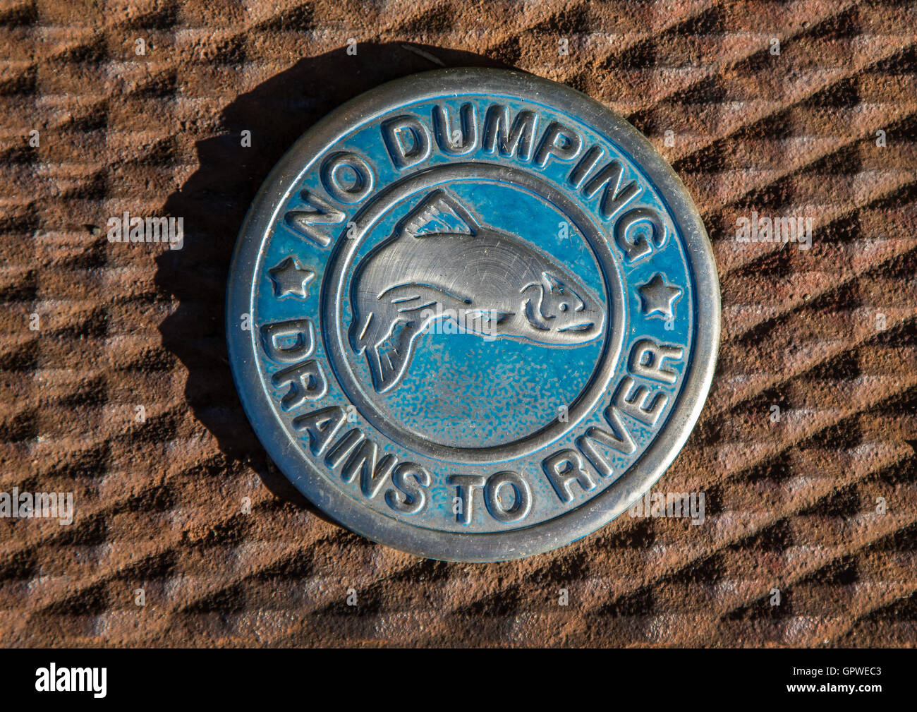 An elaborate 'No Dumping' sign on a drain depicting a fish. - Stock Image
