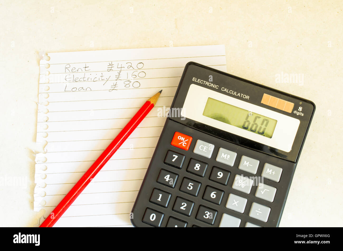 A Studio Photograph Showing the Concept of Household / Personal Finance Budgeting - Stock Image