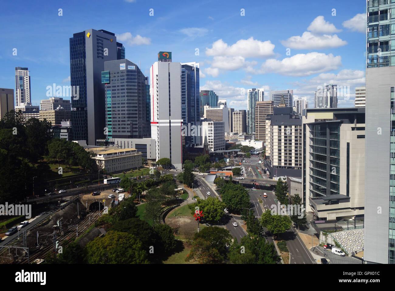 Looking along Roma Street towards King George Square, Brisbane CBD, Queensland, Australia. No MR or PR - Stock Image