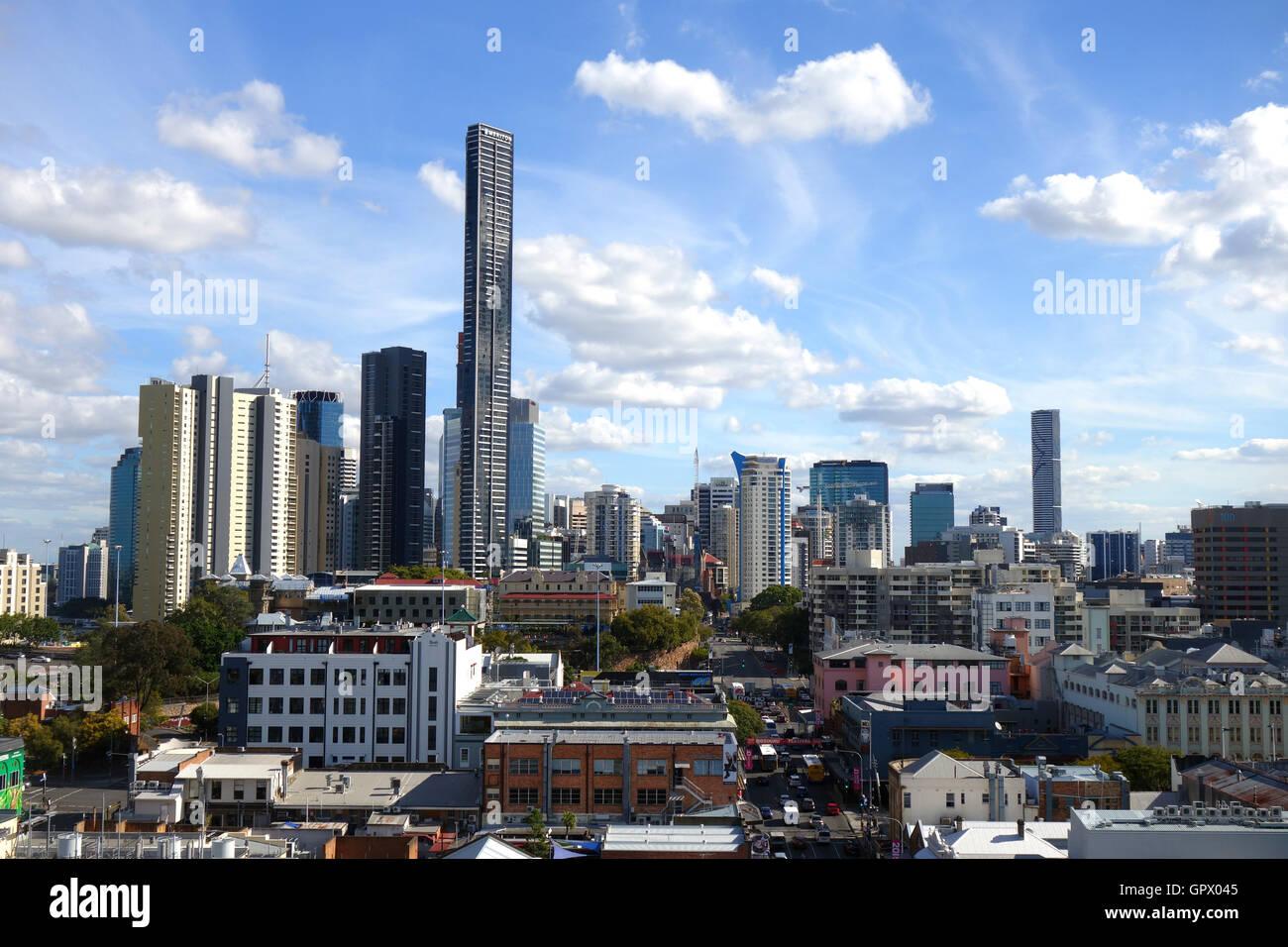 View along Ann Street through Fortitude Valley towards Brisbane CBD, Queensland, Australia. No MR or PR - Stock Image