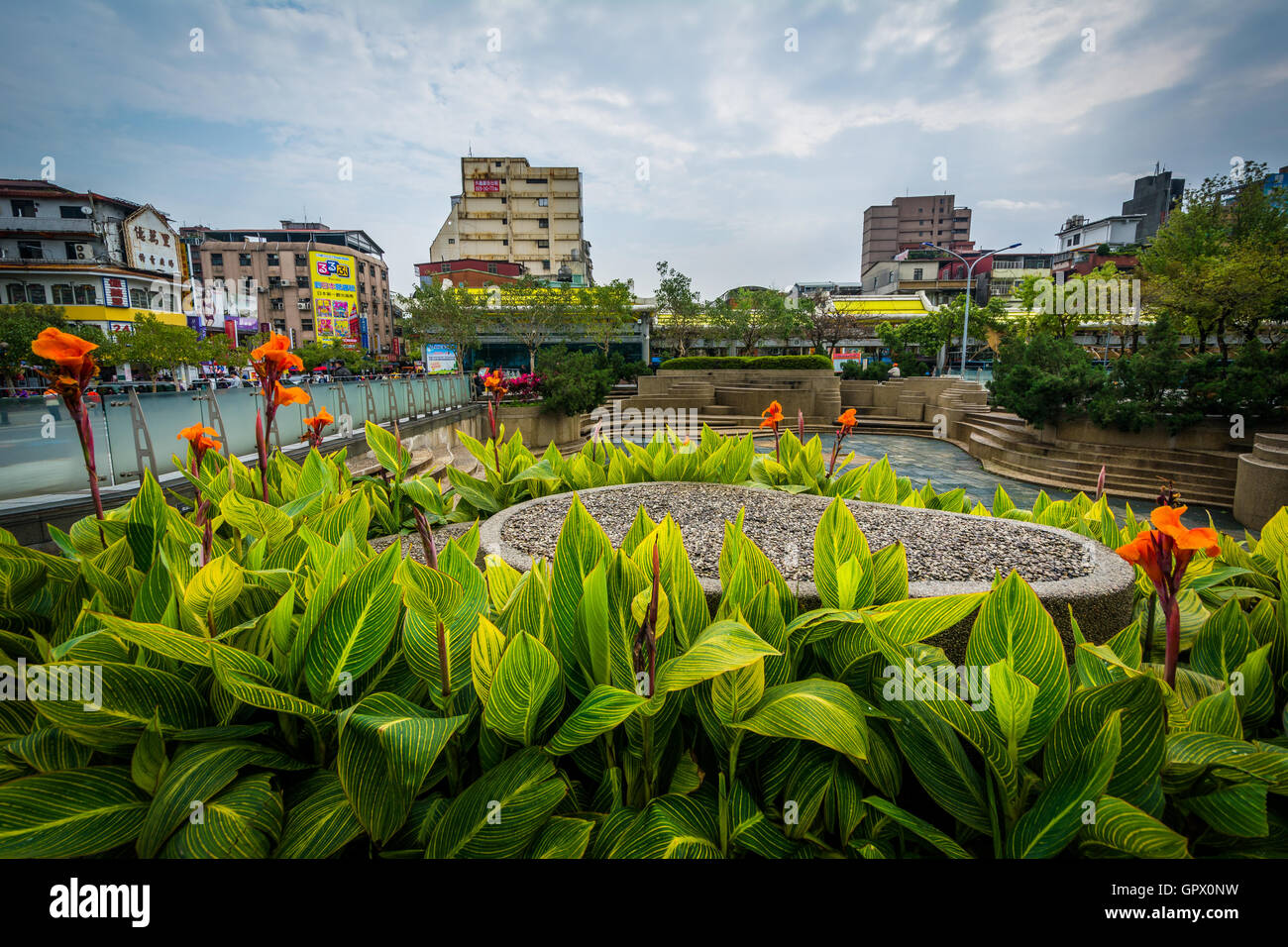 Gardens at Mengxia Park, in the Wanhua District of Taipei, Taiwan.Stock Photo