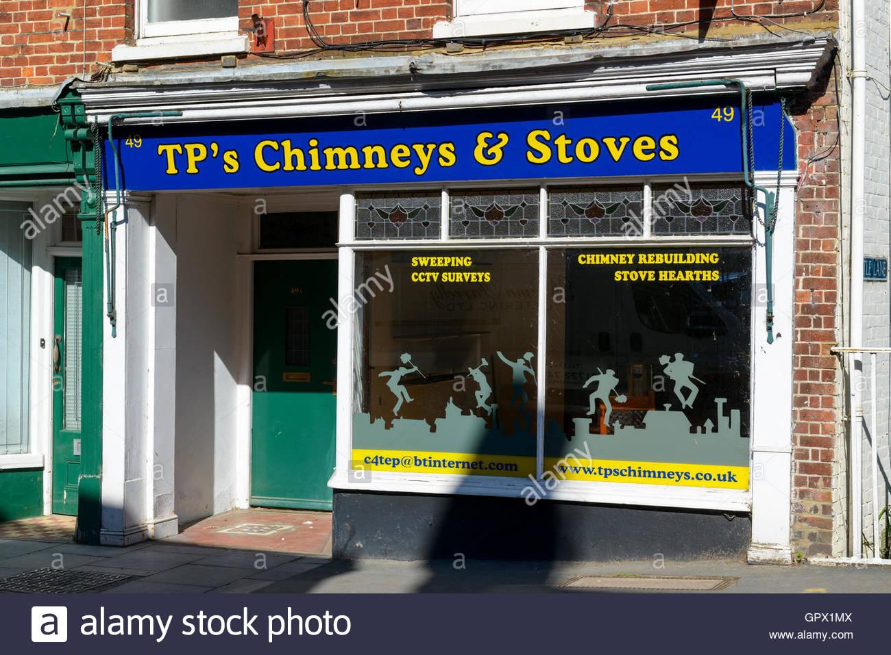 TP's Chimneys & Stoves shop, Wilton, Wiltshire, England UK - Stock Image
