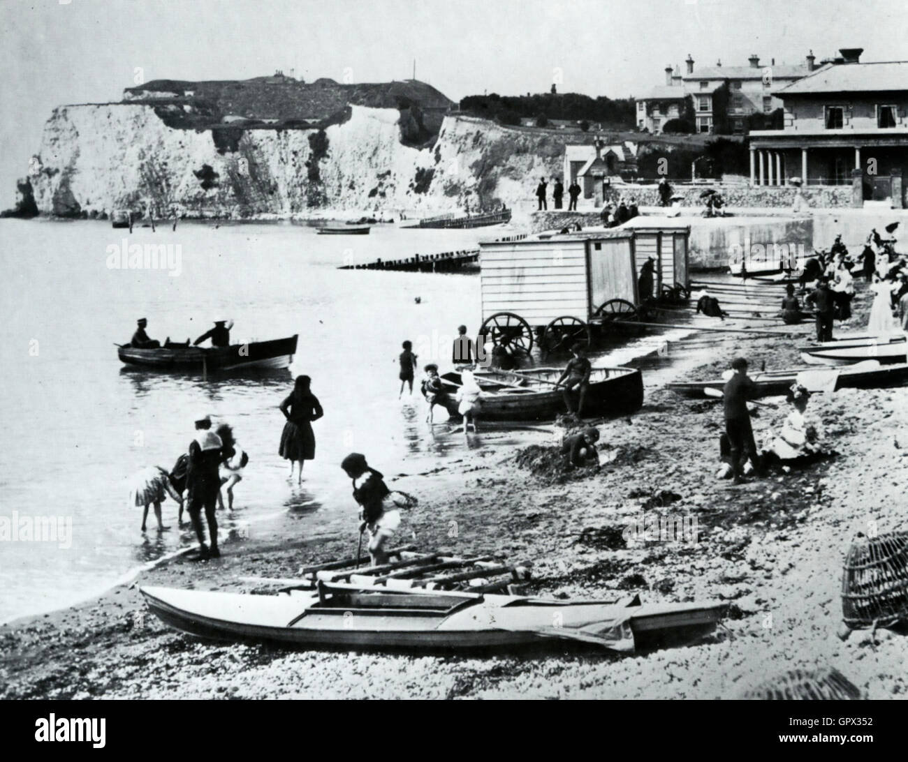 ISLE OF WIGHT  Freshwater Bay about 1860 with bathing carriages - Stock Image