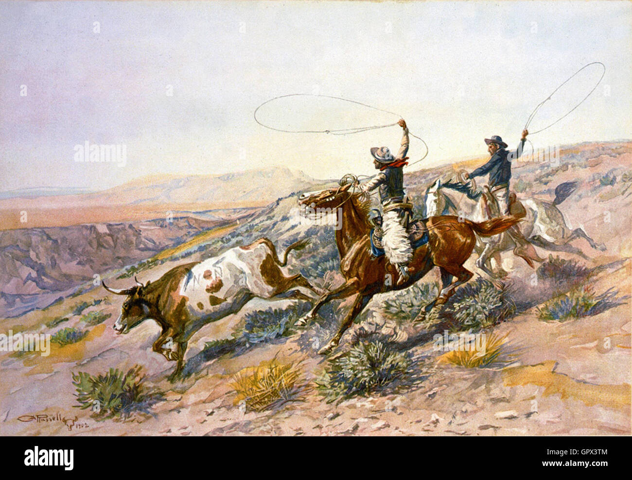 Charles Marion Russell - Buccaroos (1902) - Stock Image