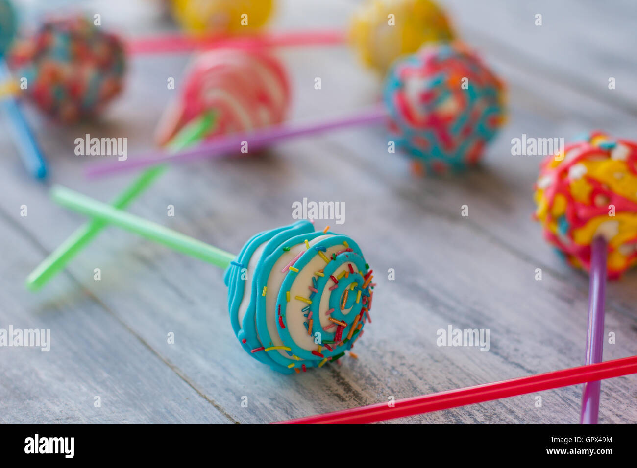 Bright candy on stick. - Stock Image