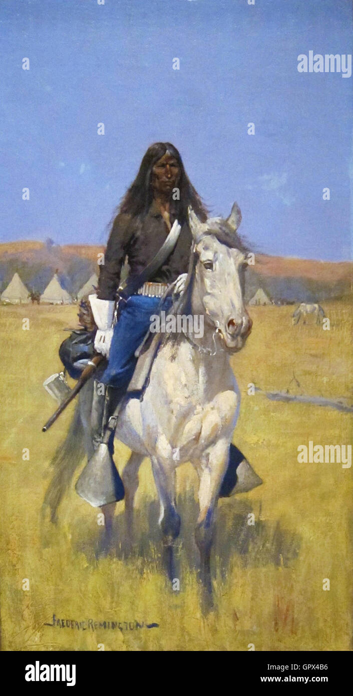 Frederic Remington - Mounted Indian Scout - Stock Image