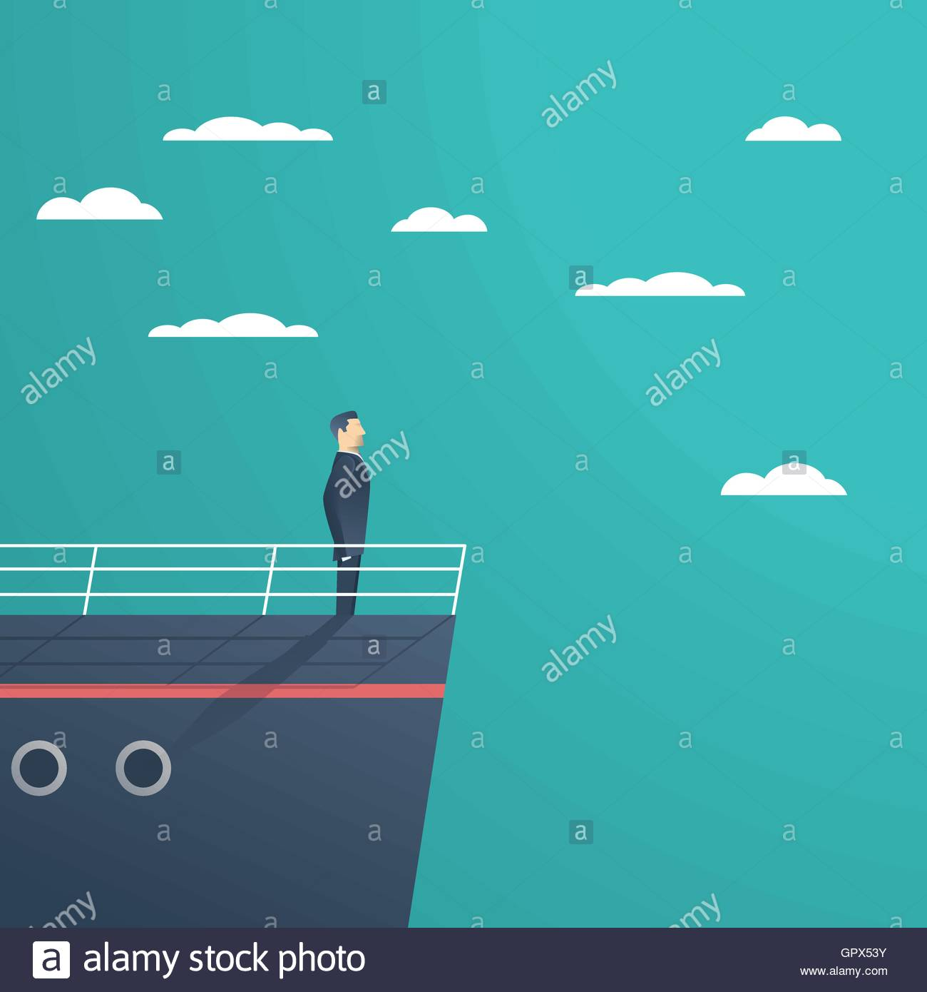 Business Man Standing On A Ship As Symbol Of Leadership Stock Vector