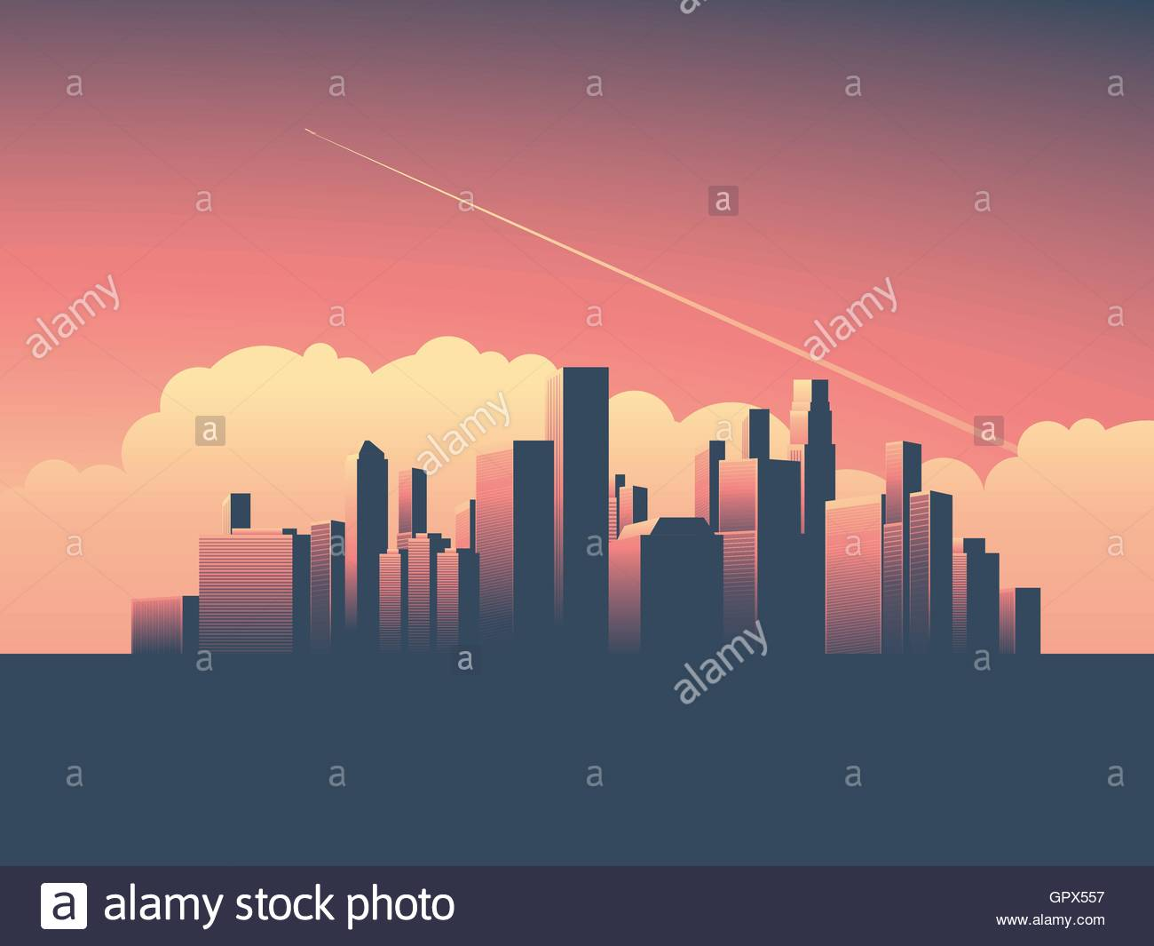 Modern urban cityscape vector illustration. Symbol of power, economy, financial institutions, money and banks. - Stock Vector