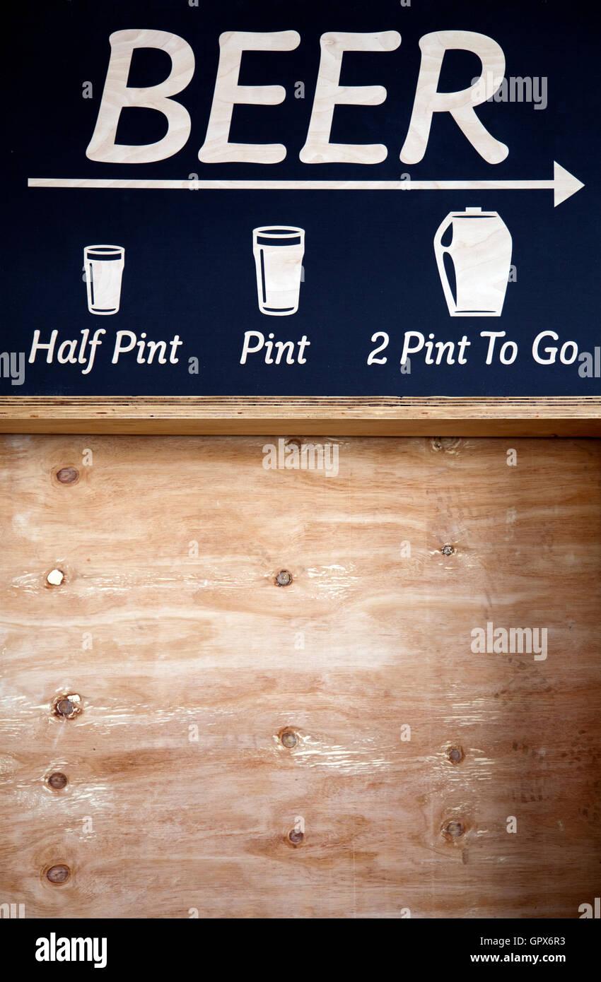 Beer Sign  - London UK - Stock Image