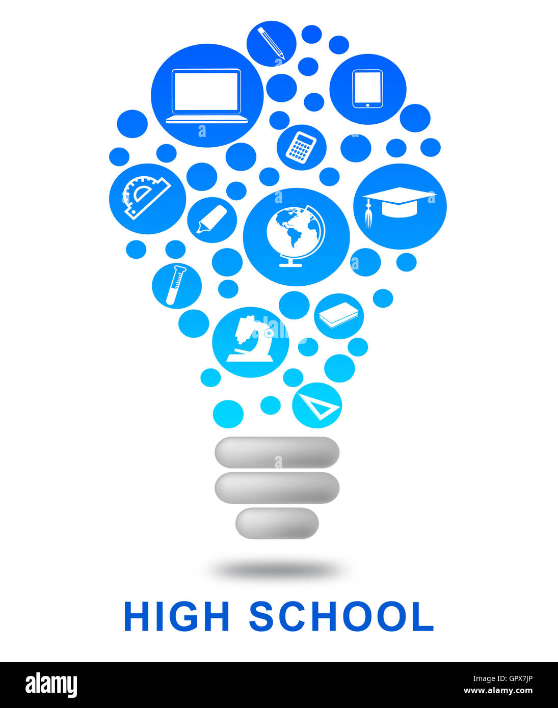 High School Lightbulb Meaning Eleventh Grade And Lamp Stock Photo