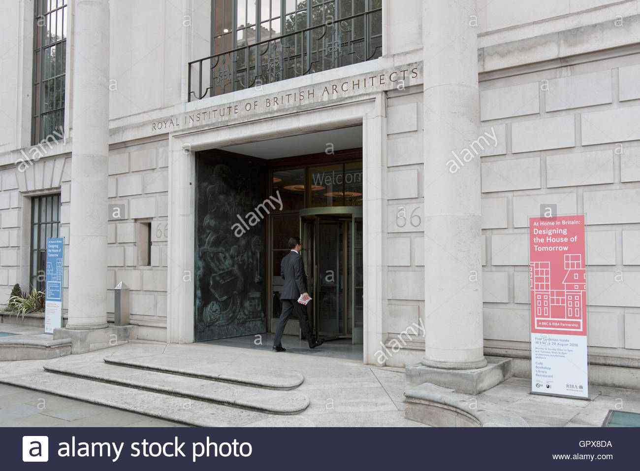 Entrance to 66 Portland Place the Royal Institute of British Architects: London. - Stock Image