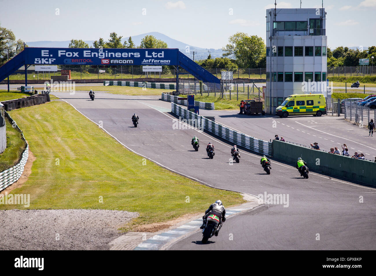 Motorcyclists at a track day riding on the race track at Mondello Park, County Kildare, Ireland - Stock Image