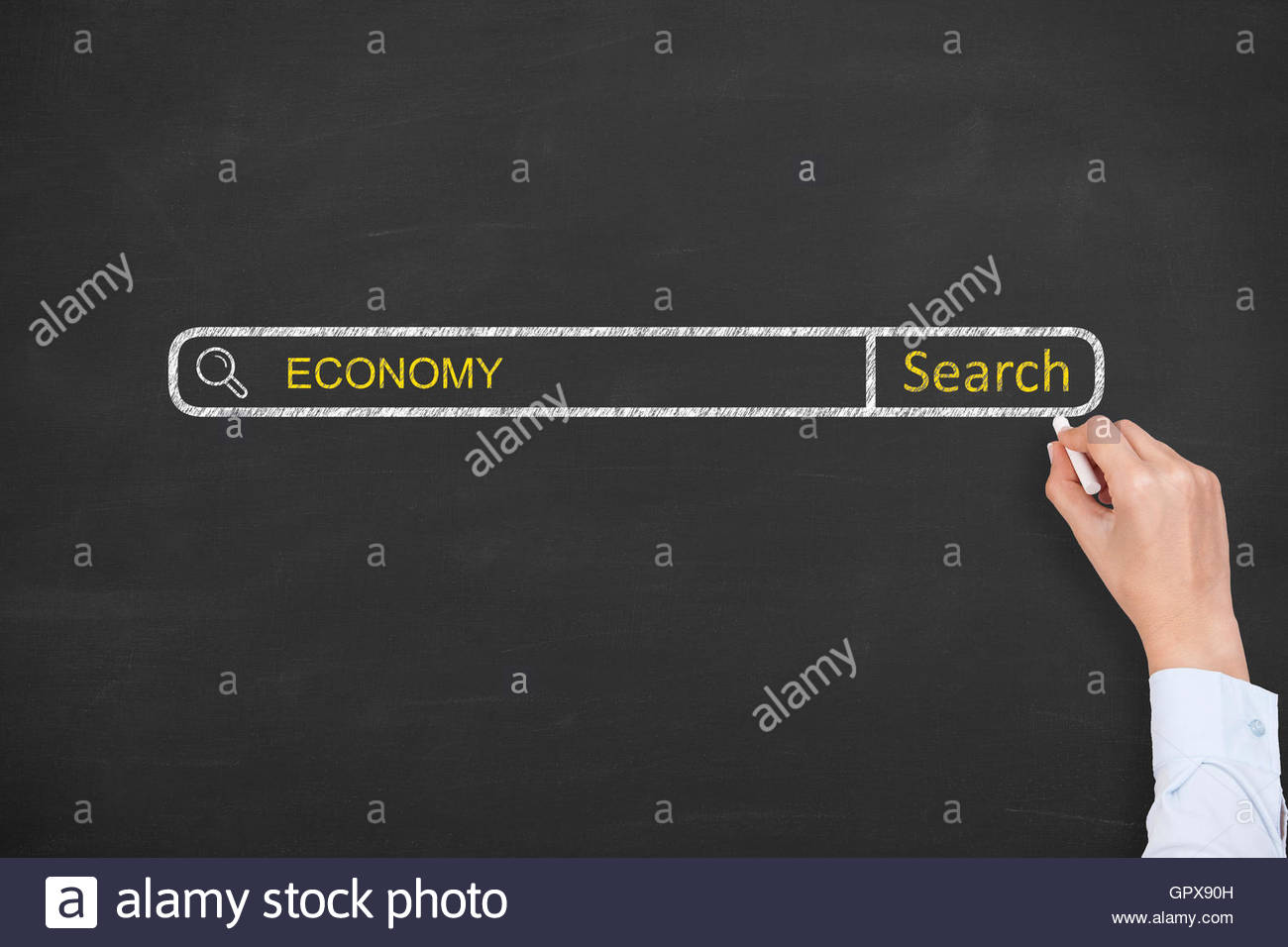 Economy Search Engine on Blackboard - Stock Image