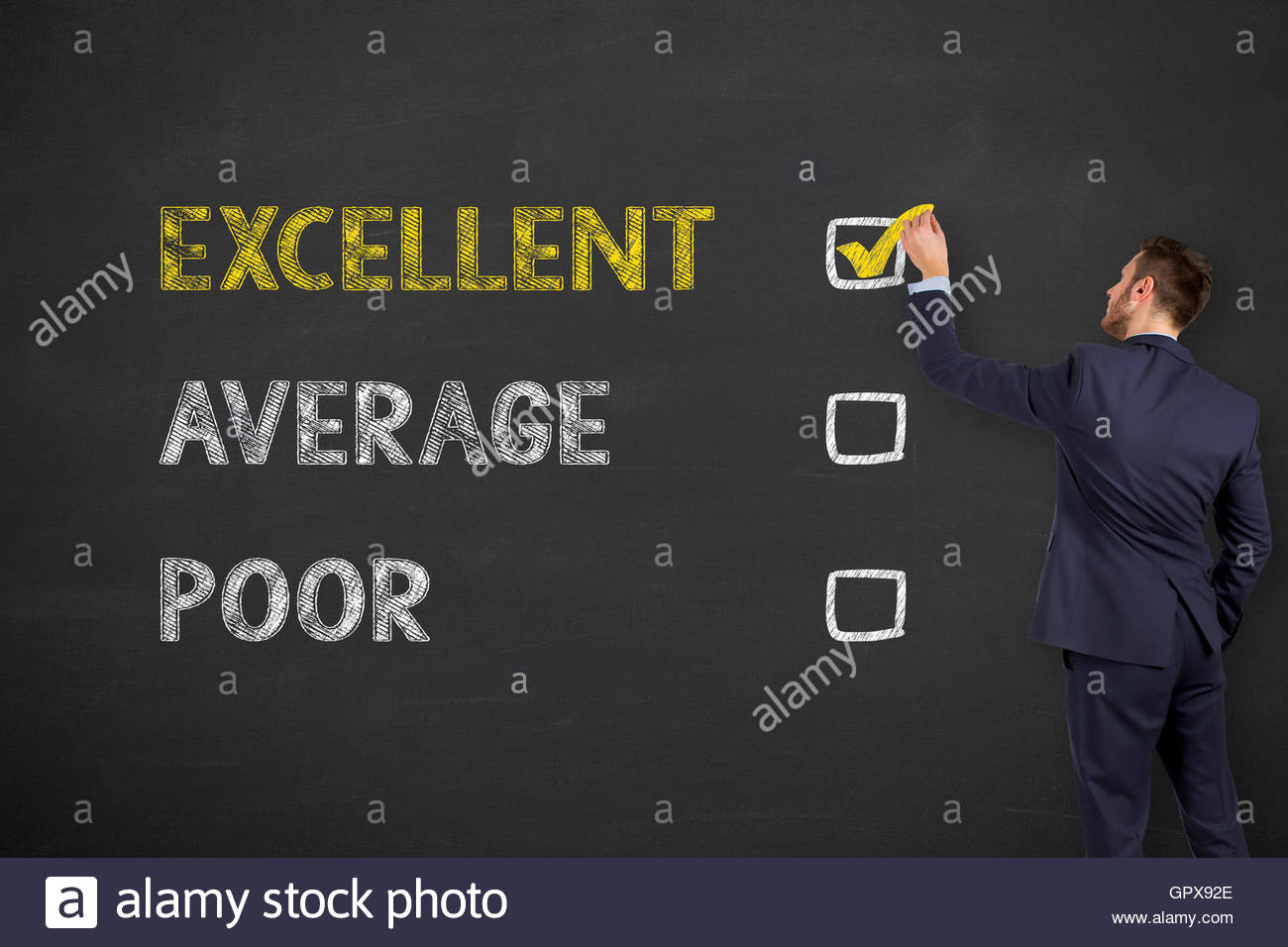 Excellent Customer Service Evaluation Form Drawing on Blackboard - Stock Image
