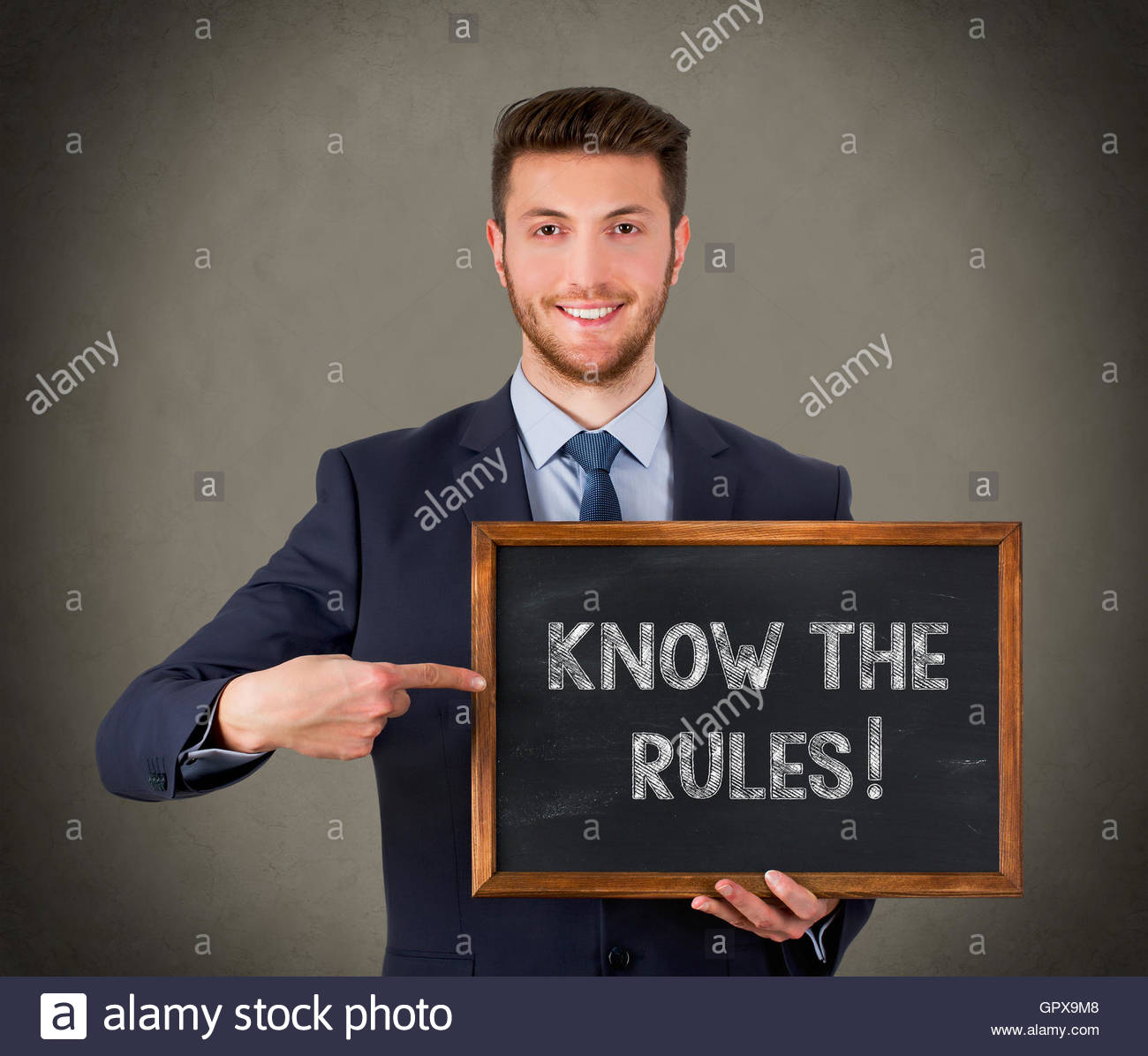 Know The Rules on Blackboard - Stock Image