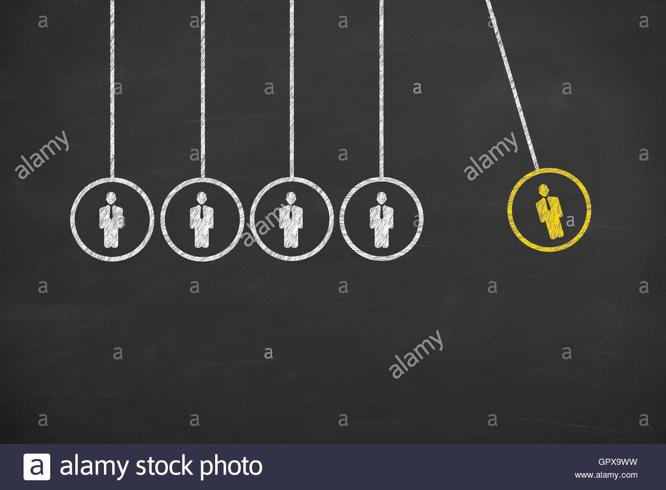 Newton Cradle Human Resource - Stock Image