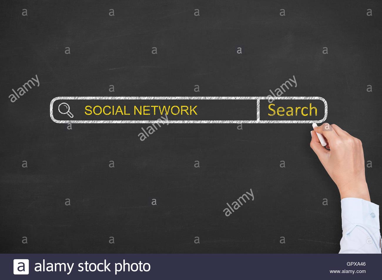 Social Network Search Engine on Blackboard Stock Photo