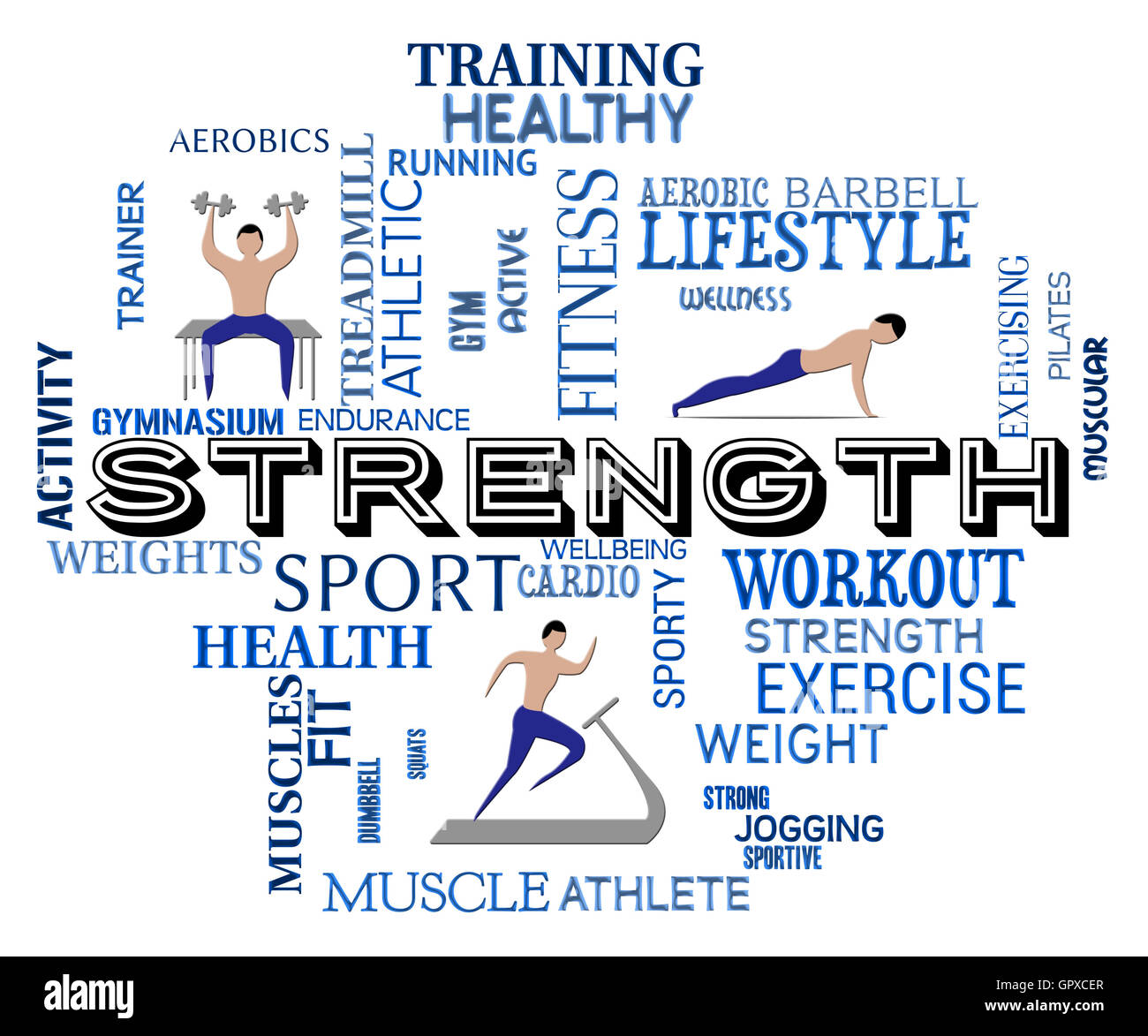 Fitness Strength Showing Work Out And Aerobic - Stock Image