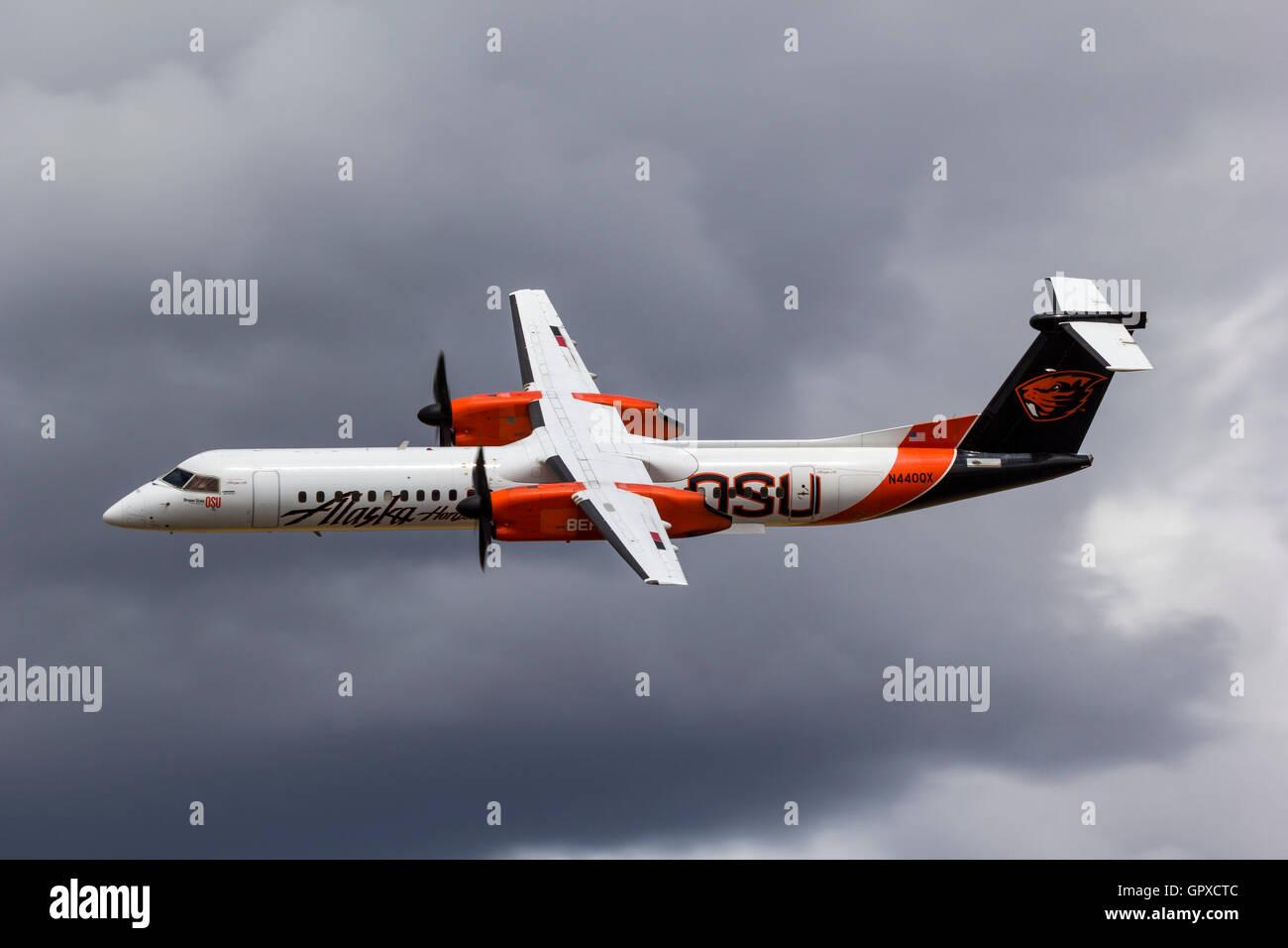 Alaska Airlines, Horizon Air, Bombardier Dash 8-Q402   turboprop (N440QX) in Oregon State University Beavers scheme. - Stock Image