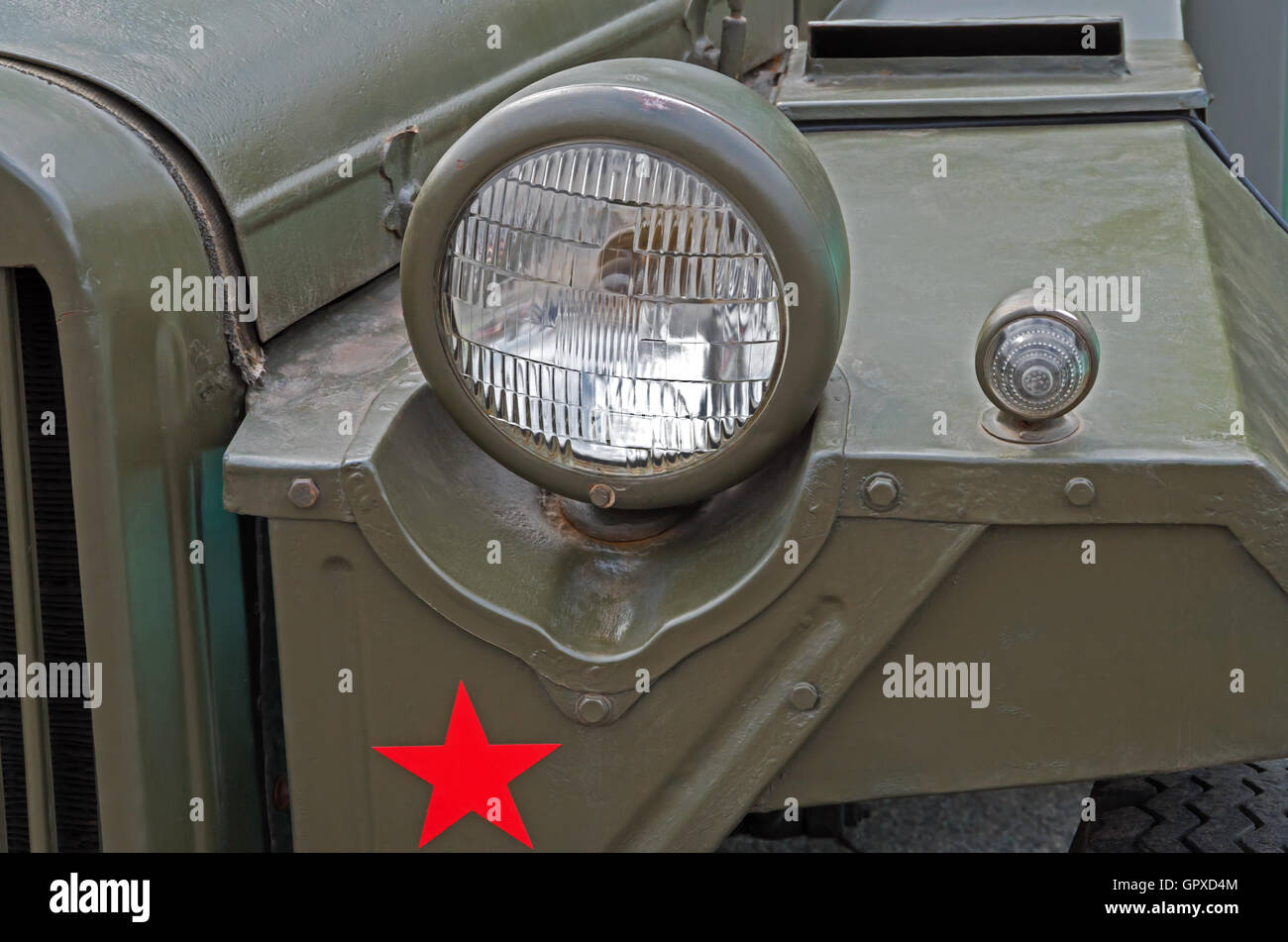 Headlights of an retro military vehicle during World War II Stock Photo