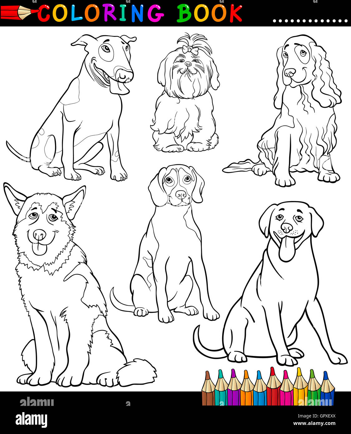 Cartoon Dogs or Puppies Coloring Page Stock Photo: 117367122 ...