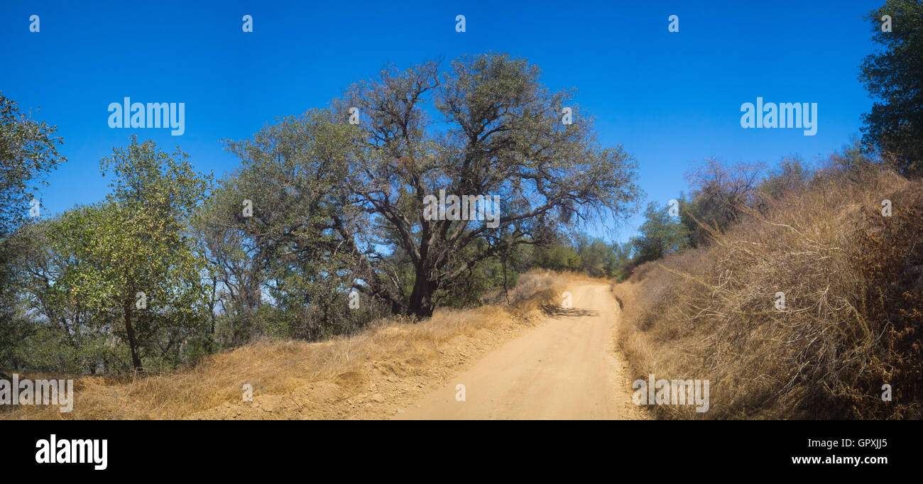 Hiking trail leads through the hills in southern California near Los
