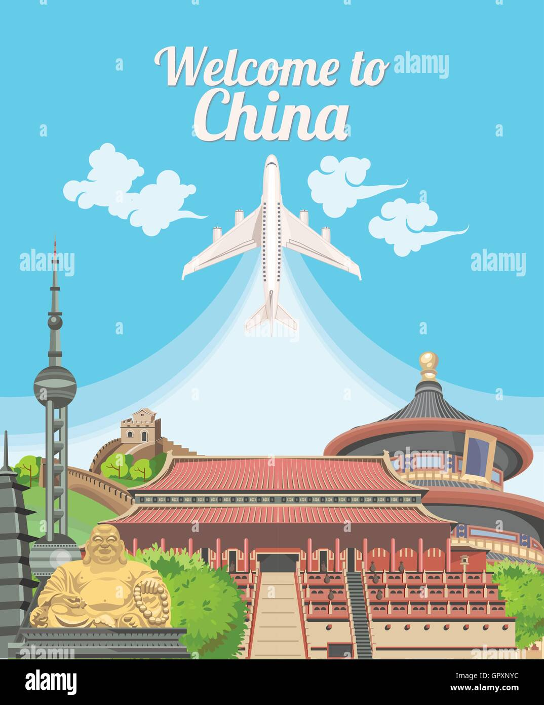 Welcome to China. Travel Chinese landmarks. Chinese vector icons. Vacations poster with Chinese ethnic elements - Stock Image
