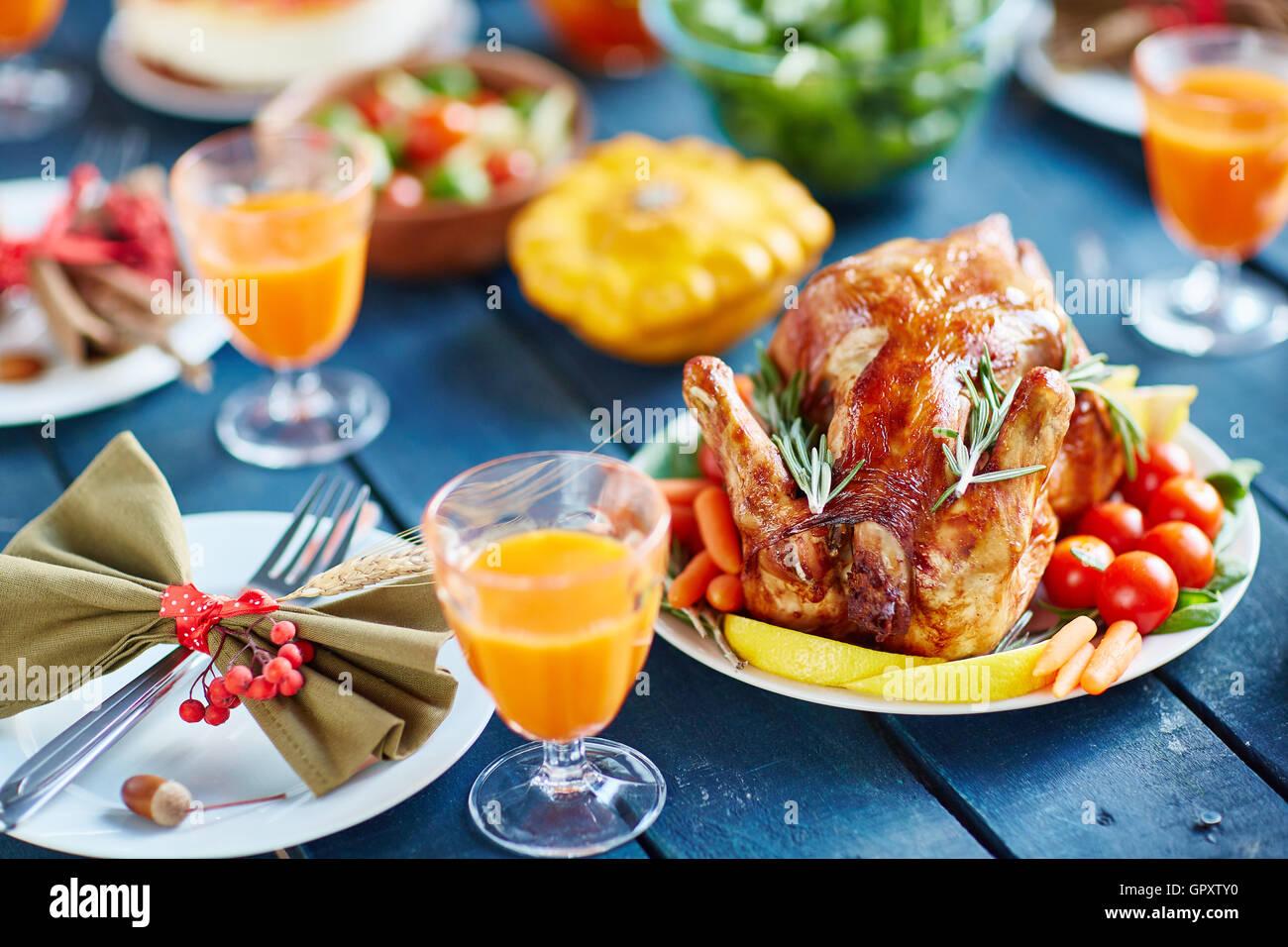 Prosperous Thanksgiving Feast - Stock Image