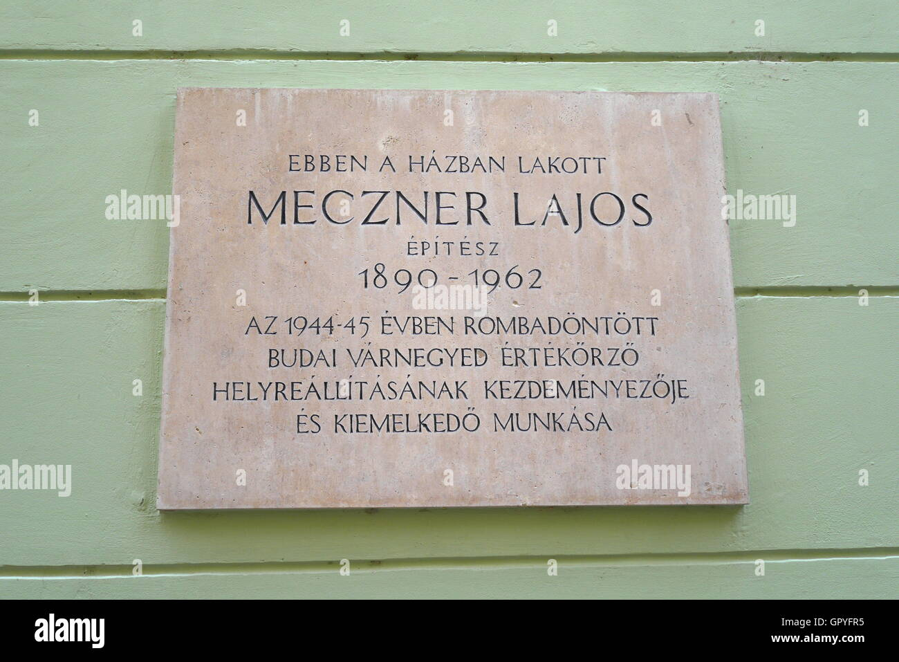 Commemorative plaque to artist Meczner Lajos, Castle District, Budapest, Hungary - Stock Image