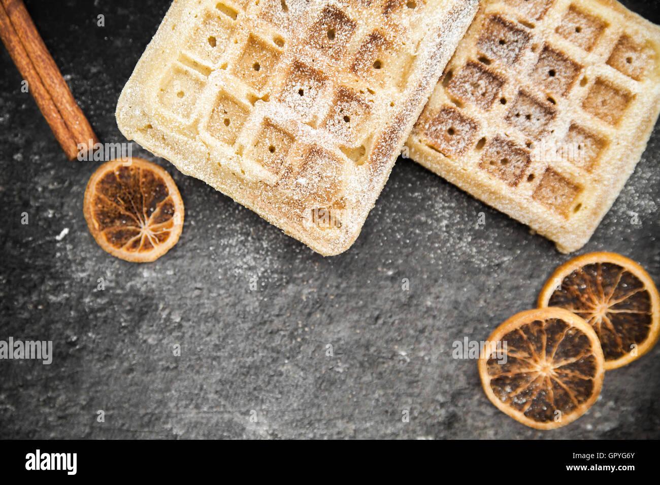 belgian waffles background - Stock Image