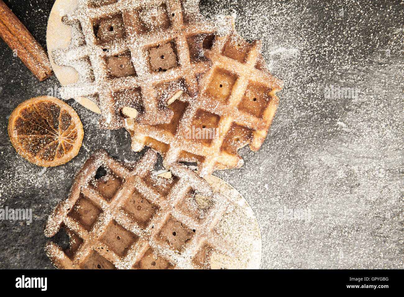 Food background with belgian waffles - Stock Image