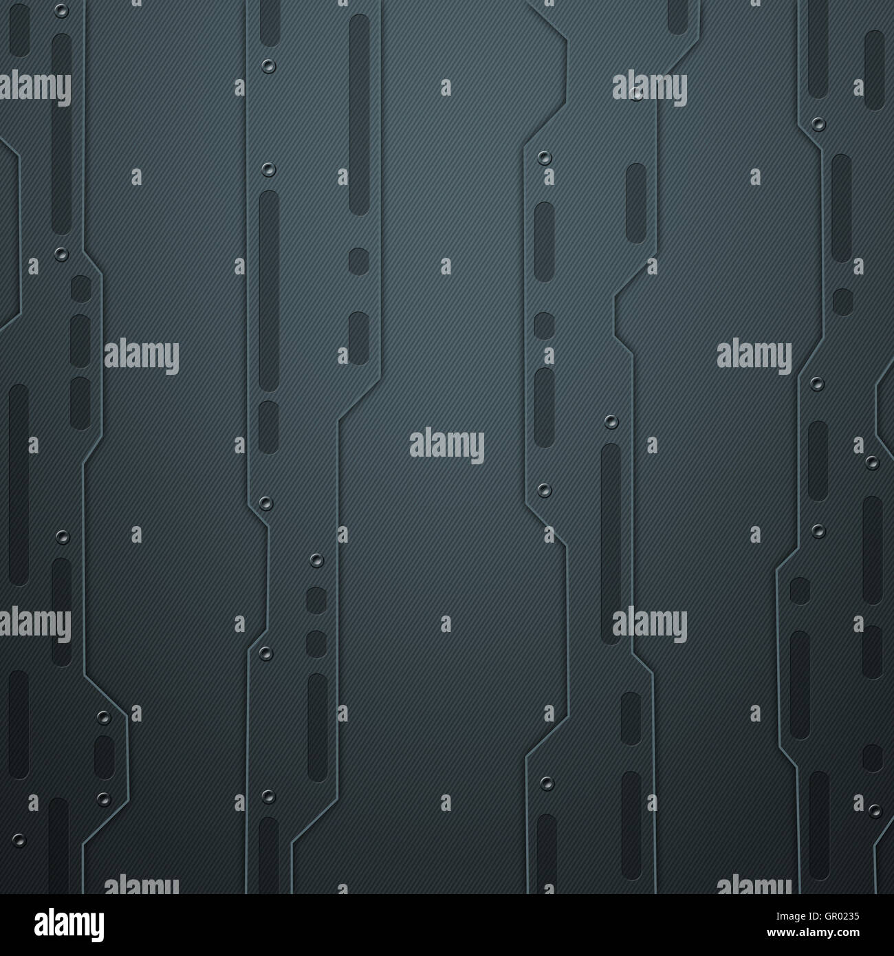 scifi wall. black carbon fiber wall. metal background and texture 3d illustration. technology concept. - Stock Image