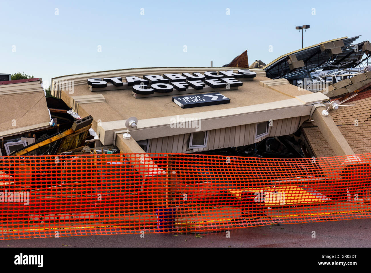 Kokomo - August 24, 2016: Several EF3 tornadoes touched down, one of which destroyed a local Starbucks 1 - Stock Image