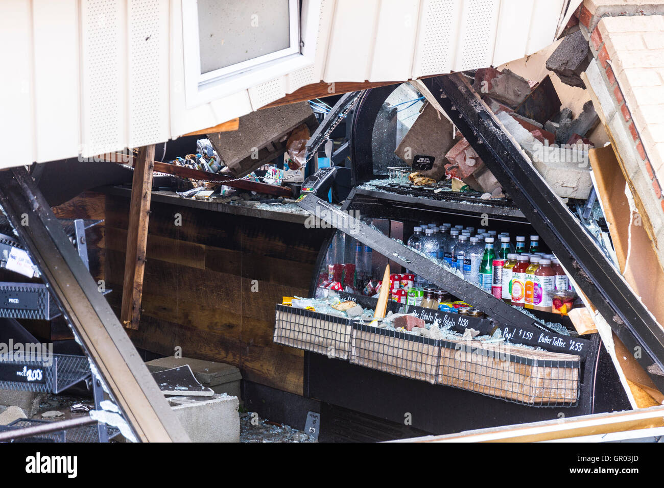 Kokomo - August 24, 2016: Several EF3 tornadoes touched down, one of which destroyed a local Starbucks 9 - Stock Image