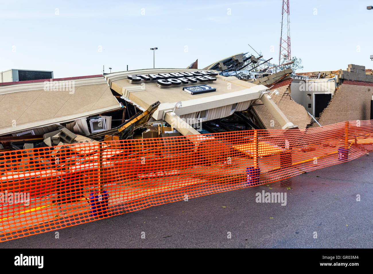 Kokomo - August 24, 2016: Several EF3 tornadoes touched down, one of which destroyed a local Starbucks 13 - Stock Image