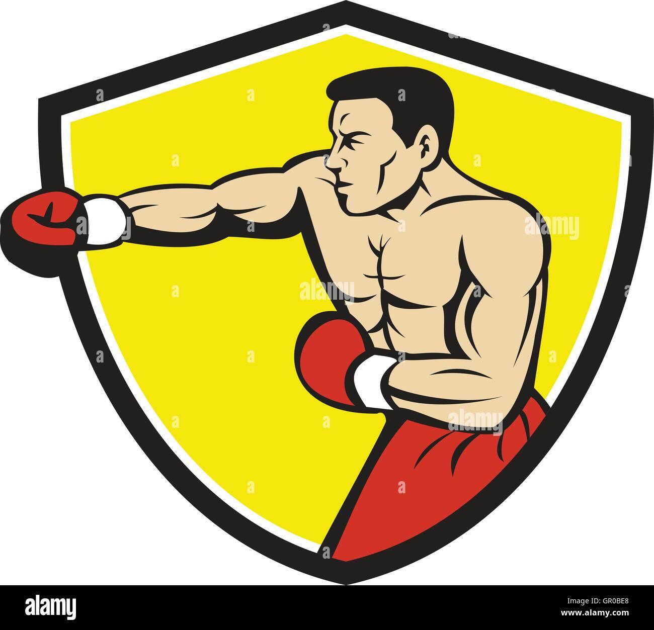 Illustration Of A Boxer Wearing Boxing Gloves Jabbing Punching