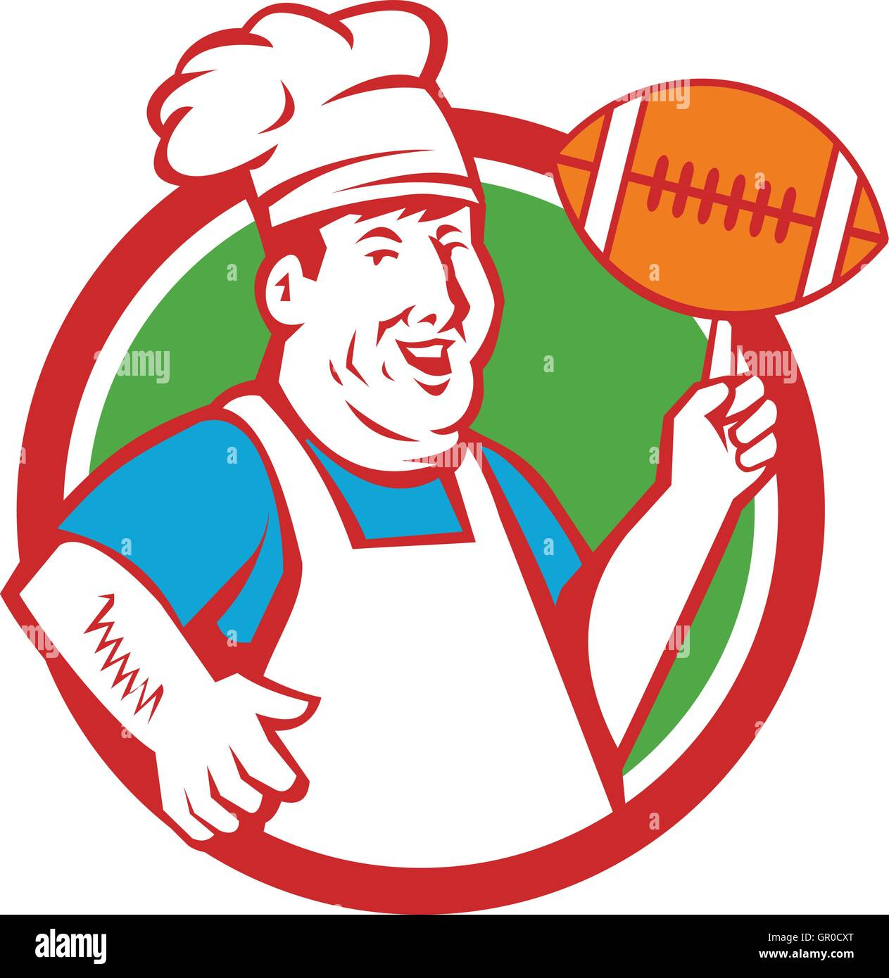 Illustration of a fat chef cook smiling wearing hat and apron twirling football ball viewed from front set inside - Stock Vector