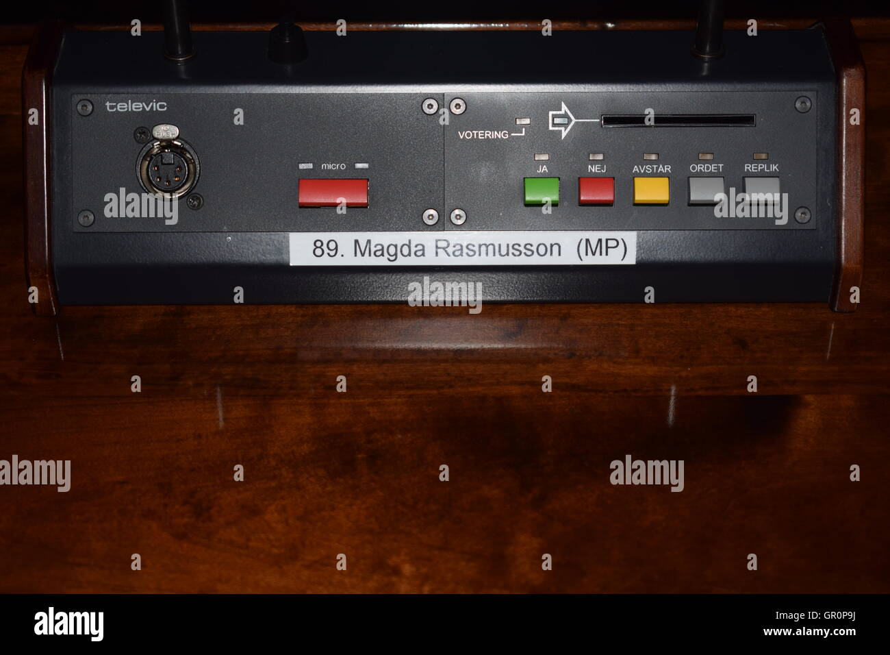 Electronic voting device in Stadhuset, Stockholm - Stock Image