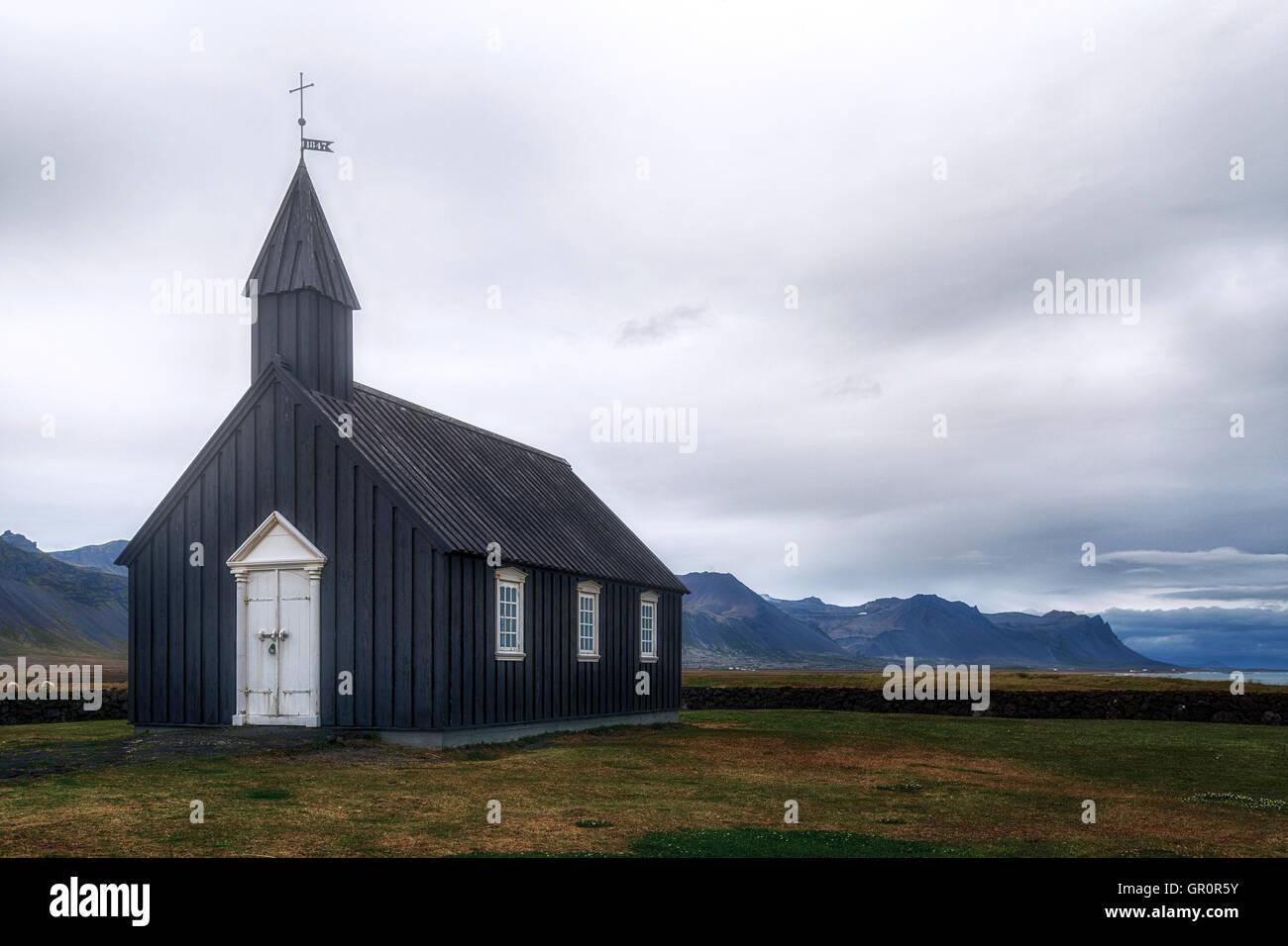 Budir, Black church, Snaefellsnes, Iceland - Stock Image