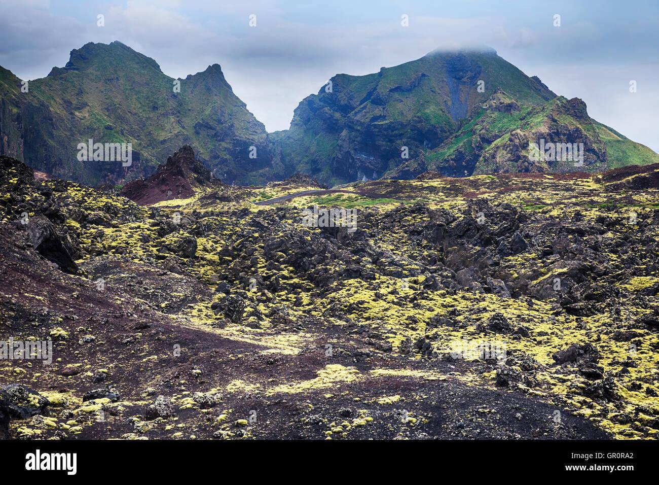 Eldfell, Heimaey, Vestmannaeyjar, Iceland - Stock Image