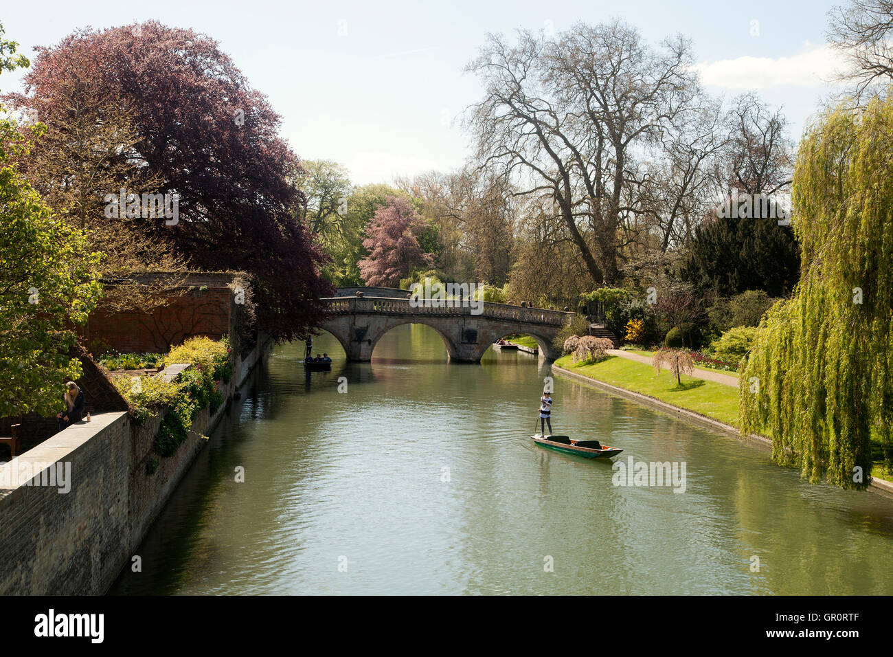 Punts for tourists at river Cam Stock Photo