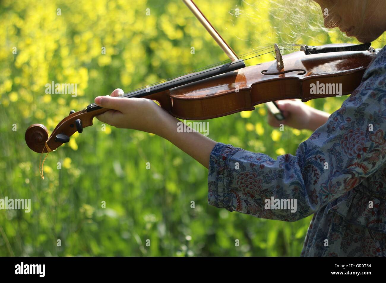 playing the violin in the field Stock Photo